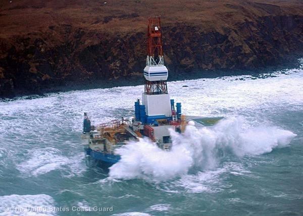 Shell's Kulluk platform is grounded in Alaska, January 2013