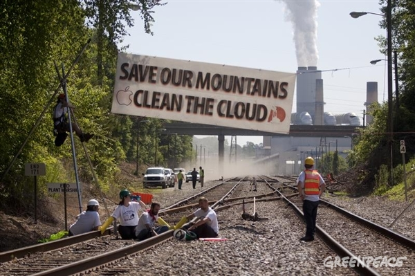 Activists block a train from bringing coal to a Duke coal plant in May, 2012
