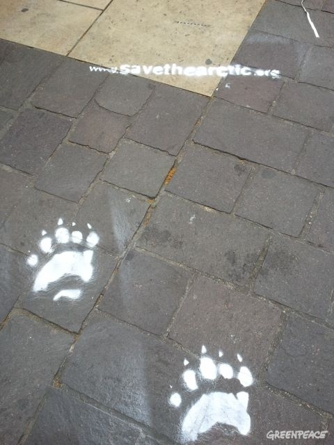 Polar bear paw prints in Paris.