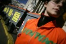 Greenpeace activists protest against the