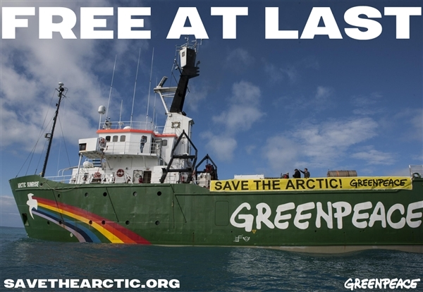 Arctic Sunrise, Free at Last