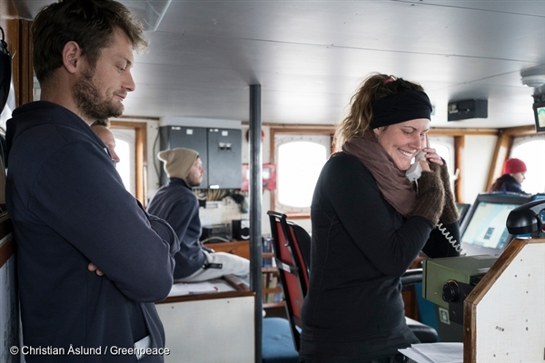 Anne Mie Jensen and Sune Scheller onboard Arctic Sunrise. 4 Sep, 2015 © Christian Åslund / Greenpeace
