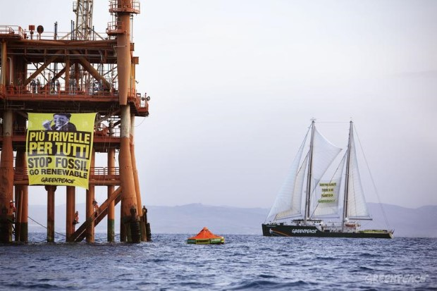 Rainbow Warrior Fossil Fuels Protest At The Prezioso Oil Rig In Italy