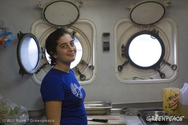 Gizem Akhan on the Arctic Sunrise in Norway. 08/11/2013 © Will Rose / Greenpeace