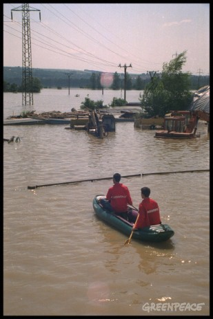 Greenpeace activists investigate pollution after previous heavy floods in the Czech Republic