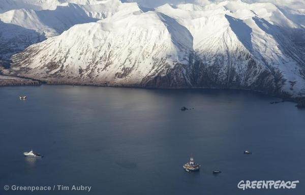 Photo: Shell's damaged Kulluk drill barge on January 8, 2013 in Kiliuda Bay in Alaska