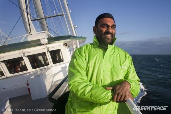 Kumi Naidoo on the Rainbow Warrior