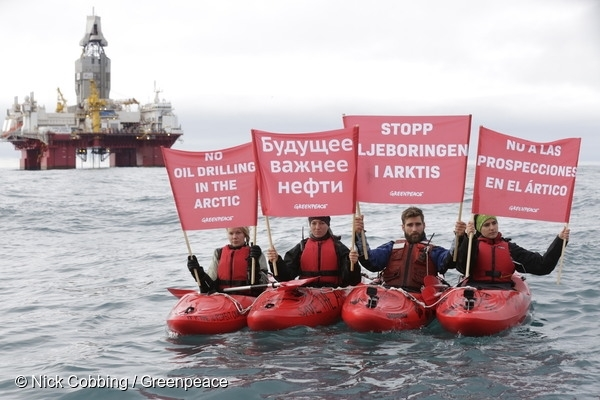 Greenpeace activists protest Arctic oil drilling 17 Aug, 2017 © Nick Cobbing / Greenpeace