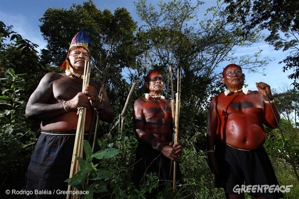 Xavante indigenous people from Maraiãwatsede with traditional body paint for war. Due to conflicts over land ownership, this traditional painting is now a daily ritual in the lives of Indians.