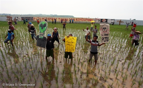 Batang residents hold a protest in their rice farm that is under threat of development by a massive coal-fired power plant project.