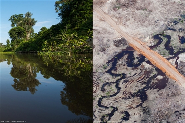 (left) Tapajós River in the Amazon Rainforest. 23 Feb, 2016 © Valdemir Cunha / Greenpeace. (Right) Construction of the Belo Monte Dam project, near Altamira. Belo Monte is a controversial hydropower plant on the Xingu River. 12 Feb, 2012 © Daniel Beltrá / Greenpeace