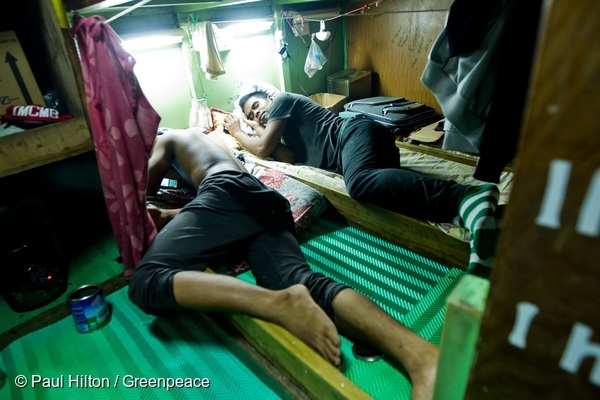 Fishermen Sleep Onboard a Taiwanese Longliner in Samoa. 19 Aug, 2015 © Paul Hilton / Greenpeace