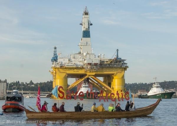 Seattle Shell rig protest. 15 Jun, 2015 © Marcus Donner / Greenpeace