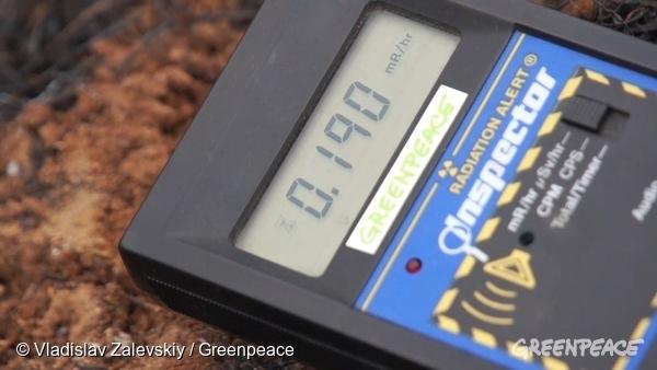 Geiger counter showing radiation levels. 07/04/2016  © Vladislav Zalevskiy / Greenpeace