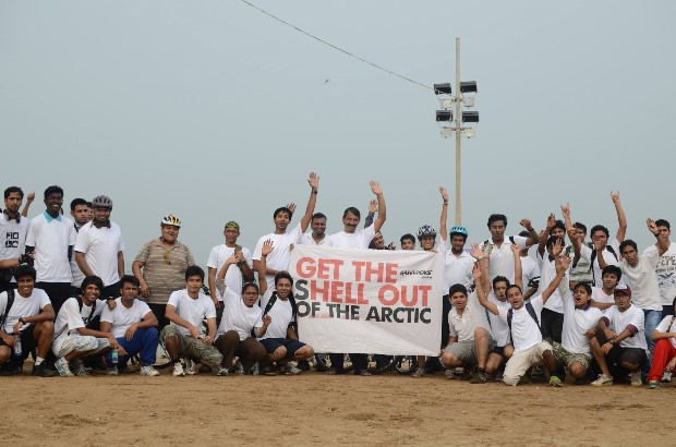 Cycle rally in Mumbai protesting against Shell drilling for oil in the Arctic