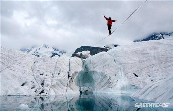 Tightrope Walker: Climate action at the Gorner Glacier in Switzerland Photo by Christian Schmutz