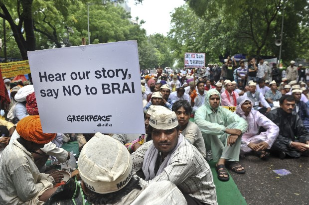 Protestors demand that the BRAI bill is scraped and India be GMO free