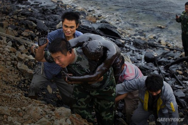 Major offshore oil spill in China