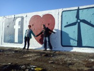 Volunteers in Sweden painted a massive Facebook Wall