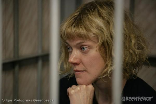 Sini Saarela, At The Leninsky District Court Of Murmansk. 09/26/2013 © Igor Podgorny / Greenpeace