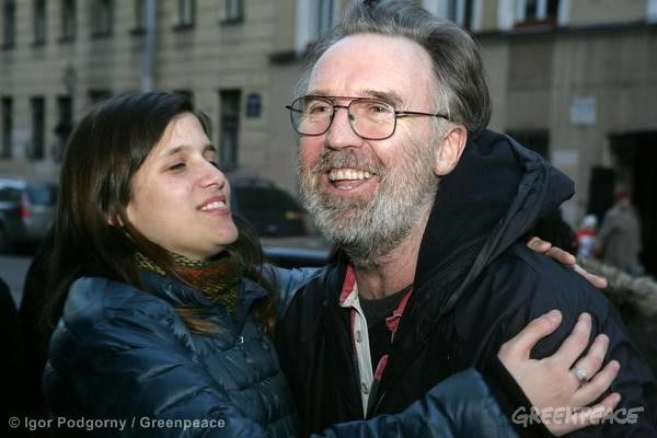 Colin Russell Released On Bail Greenpeace International activist Colin Russell (from Australia) is greeted by fellow Arctic 30 activist Camila Speziale after he is released on bail from the SIZO 4 detention centre in St. Petersburg. 11/29/2013 © Igor Podgorny / Greenpeace