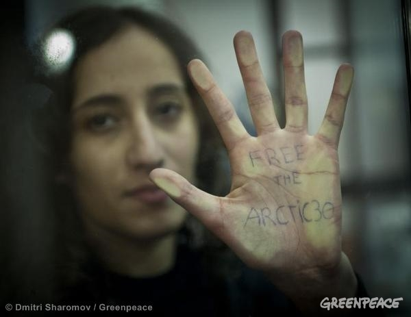 Faiza Oulahsen Bail Hearing At Murmansk Court. 10/18/2013 © Dmitri Sharomov / Greenpeace