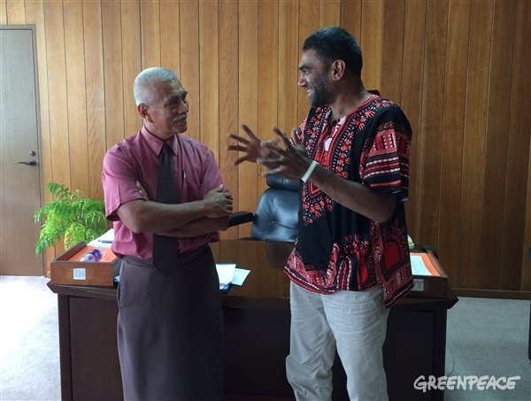 President of Kiribati, Anote Tong spoke with Kumi Naidoo, International Exclusive Director, Greenpeace International, about the challenge of combating catastrophic climate change in the region. 10 Aug, 2015 © Greenpeace