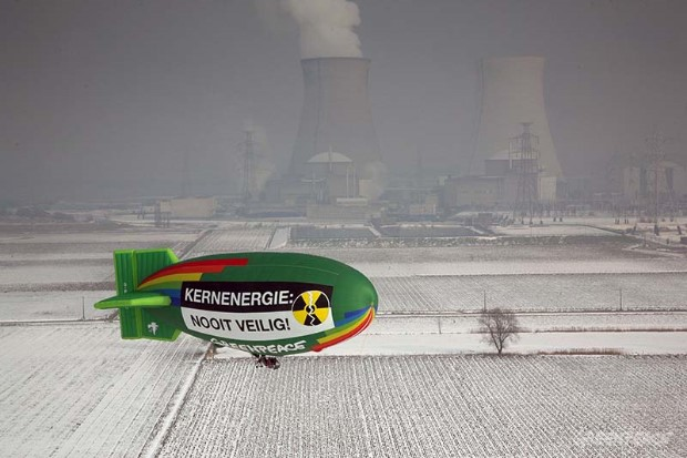 Airship Flies near Doel Nuclear Plant