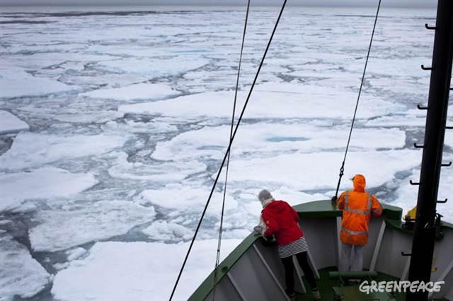 The Arctic Sunrise in pack ice