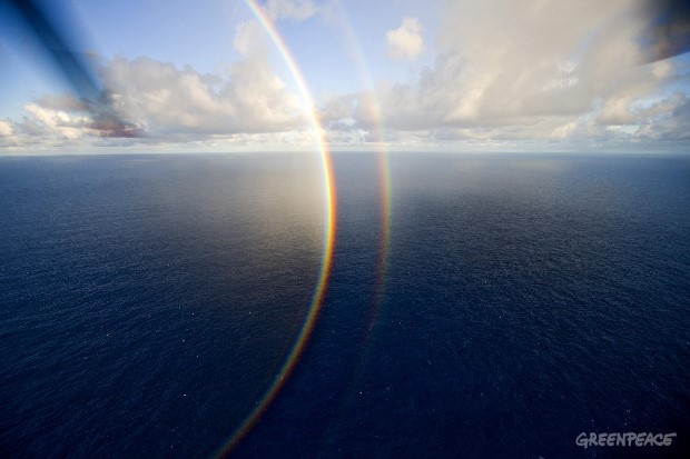 Rainbows over the Pacific Ocean