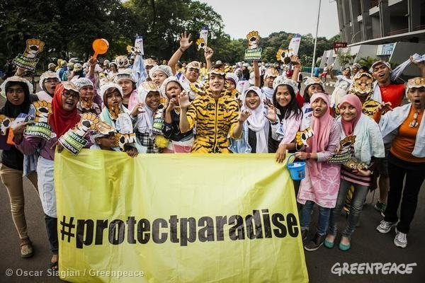 Global Day of Action to Protect Paradise in Jakarta. 03/29/2014 © Oscar Siagian / Greenpeace