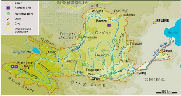 Exposed Coal Mining At The Source Of Chinas Yellow River - Yellow river on world map