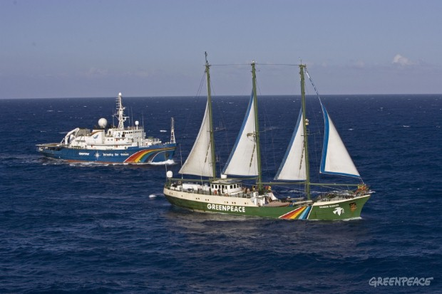 "The Rainbow Warrior and the Esperanza unite to ""Defend our Mediterranean""."