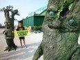Greenpeace protests sawmill processing African rainforest destruction