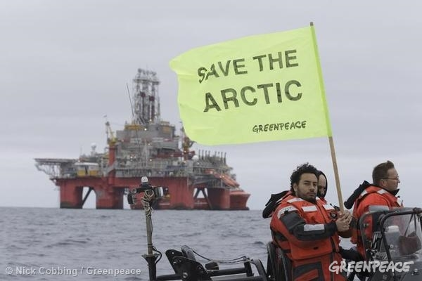 Esperanza and Crew Protest Statoil Commissioned. 08/27/2014 © Nick Cobbing / Greenpeace