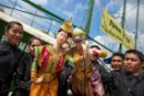 "Thai puppets perform during the launch of the Greenpeace ""Turn the Tide"" tour in Bangkok Port on September 17, 2010"
