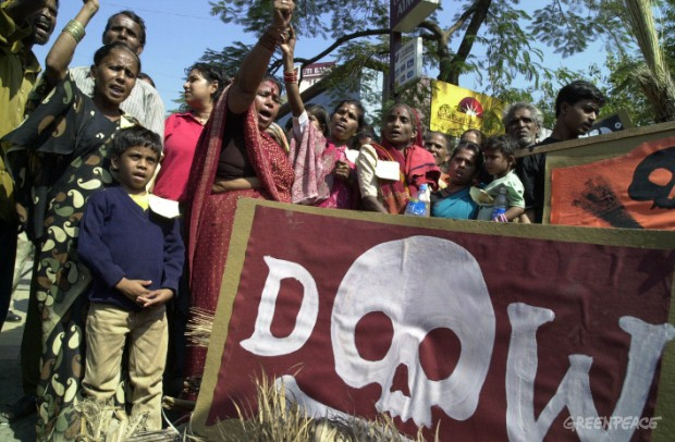 Bhopal gas disaster survivors and supporters from around the world including Greenpeace activists deliver brooms with a message  DOW CLEAN UP YOUR MESS to The Dow Chemical's Headquarters in Mumbai today.