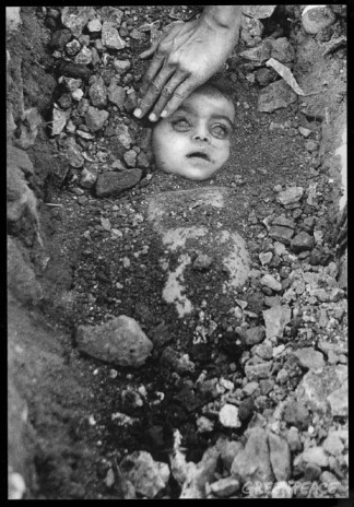 Burial of an unknown child.