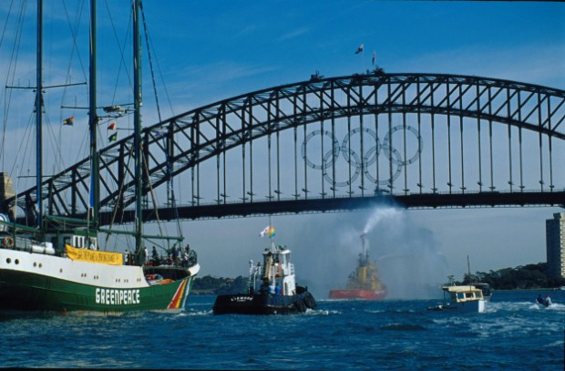 Arriving in Sydney harbour for Green Olympics 2000