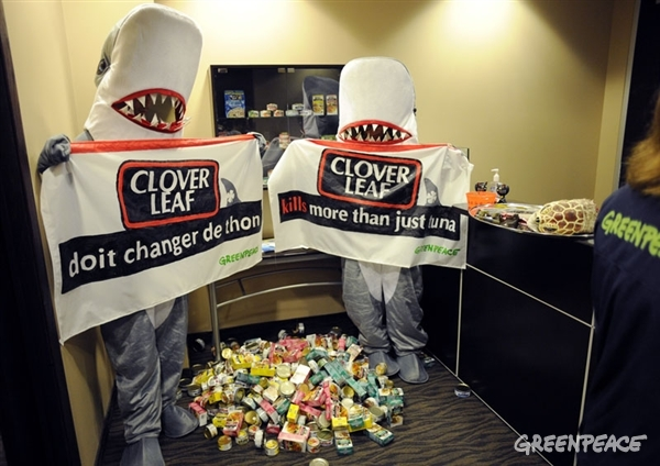 greenpeace pays a visit to clover leaf