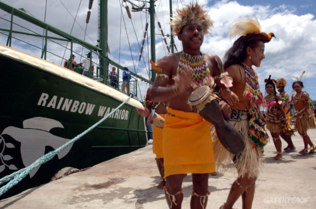 Papuans welcome the Greenpeace flagship, Rainbow Warrior, which sailed into Papua, Indonesia, for the first time today on a mission to protect the Paradise Forests, the last ancient forests in Asia-Pacific, from illegal and destructive logging.