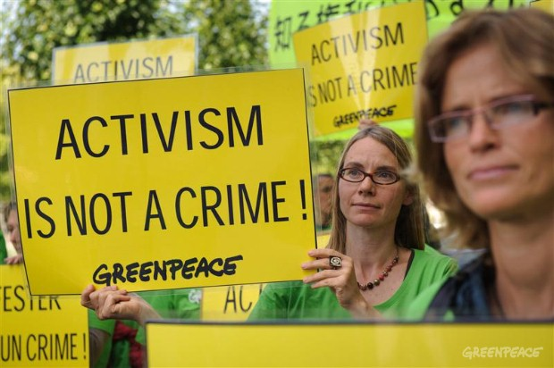 Protest in Brussels over the verdict against two Greenpeace Japan activists