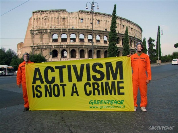 Protest in Rome over the verdict against two Greenpeace Japan activists