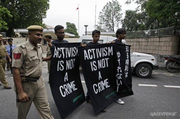 Protest in New Delhi over the verdict against two Greenpeace Japan activists