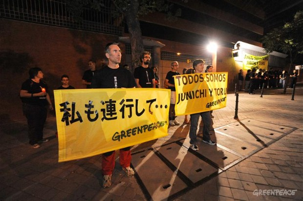 Protest in Madrid over the verdict against two Greenpeace Japan activists