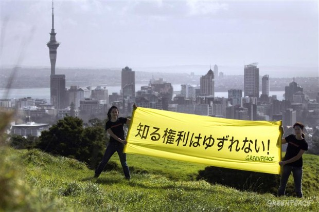 Protest in Auckland over the verdict against two Greenpeace Japan activists