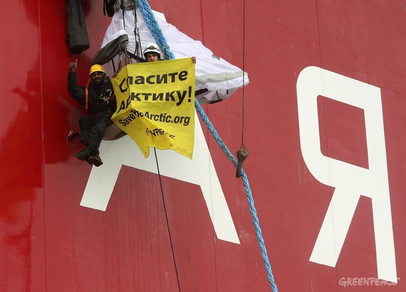 Action Against Gazprom's Arctic Drilling. 08/24/2012 © Denis Sinyakov / Greenpeace