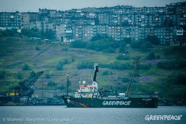 MY Arctic Sunrise Departs from Murmansk. 08/01/2014 © Enot 51 / Greenpeace