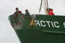 Damage to the bow of the Greenpeace ship