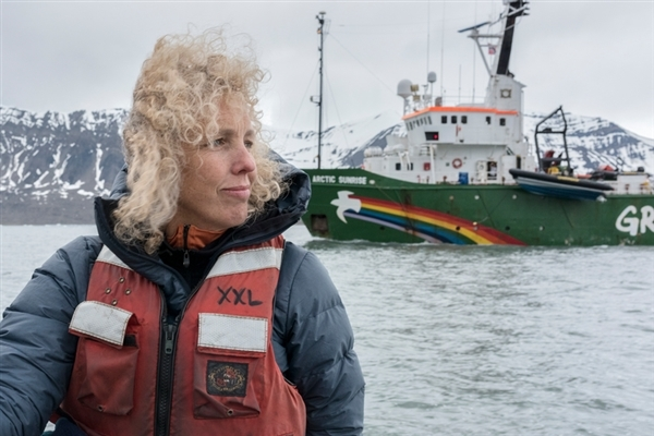 Greenpeace International Executive Director Jennifer Morgan sailing with the Arctic Sunrise on Svalbard, in the high Arctic. 26 Jun, 2016 © Christian Åslund / Greenpeace